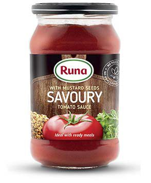 "With mustard seeds ""Savoury"" tomato sauce"